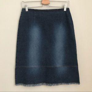 🍍HAROLD'S denim pencil skirt with frayed raw hem